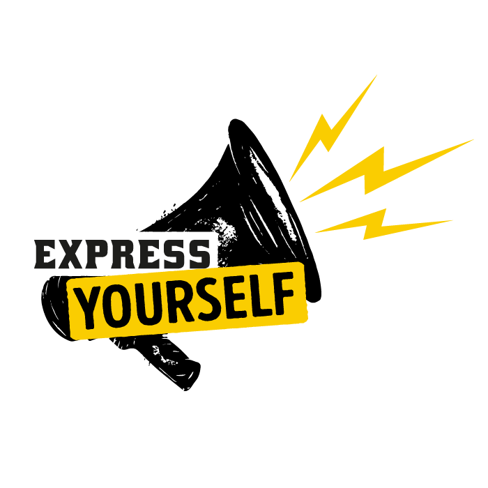Express yourself, altavoz negro con líneas saliendo de él